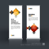 Abstract business vector set of modern roll Up Banner stand desi. Gn template with rectangles, geometric shapes for exhibition, fair, show, exposition, expo Royalty Free Stock Images