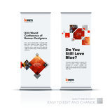 Abstract business vector set of modern roll Up Banner stand desi. Gn template with rectangles, geometric shapes for exhibition, fair, show, exposition, expo Stock Photo