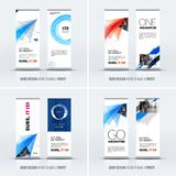 Abstract business vector set of modern roll up banner stand design vector illustration