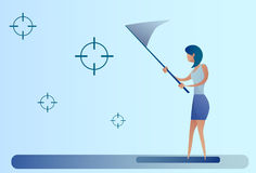Abstract Business Woman Catch Targets With Butterfly Net Aim Goal Concept. Vector Illustration Stock Photo