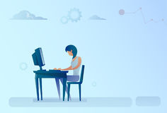 Abstract Business Woman Sitting At Office Desk Working Computer Royalty Free Stock Photos