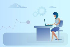 Abstract Business Woman Sitting At Office Desk Working Laptop Computer Royalty Free Stock Image
