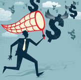 Abstract Businessman chasing and netting Dollars. Royalty Free Stock Image