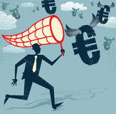 Abstract Businessman chasing and netting Euros. Royalty Free Stock Photo