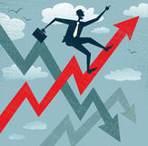 Abstract Businessman Climbs the Sales Chart. Royalty Free Stock Image