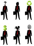 Abstract Businessman Concepts 2. An illustration featuring your choice of 6 abstract businessman concepts where their heads are replaced with various items Stock Photos