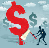 Abstract Businessman cuts down the dollar. Great illustration of Retro styled Businessman cutting down a giant Dollar Tree with his razor sharp Axe stock illustration