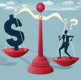 Abstract Businessman and Dollar Sign on scales. Stock Image