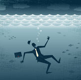 Abstract Businessman Drowning. Stock Images