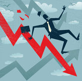 Abstract Businessman Falls down the Sales Chart. Royalty Free Stock Images