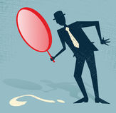 Abstract Businessman Finds a Clue. Illustration of Retro styled Abstract Businessman searching for a clue with his gigantic magnifying glass Stock Photos