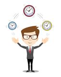 Abstract Businessman holding Time. Stock vector illustration Royalty Free Stock Images