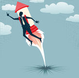 Abstract Businessman jets off with Rocket Pack. Great illustration of Retro styled Businessman who has got a rocket up his backside as he tries to hit those royalty free illustration