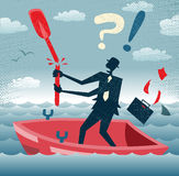 Abstract Businessman is without a paddle. Stock Photography