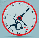 Abstract Businessman Running against the Clock. Royalty Free Stock Images