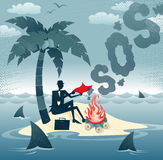 Abstract Businessman sends Smoke Signals on an Island. Great illustration of Retro styled Businessman desperately trying to make contact with potential rescuers Royalty Free Stock Image