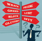 Abstract Businessman at Seven Deadly Sins Signpost. Stock Photos