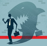 Abstract Businessman is a Shark in Disguise. Illustration of Retro styled Businessman whos shadow reveals him to be somebody quite sinister in the form of a Royalty Free Stock Photography
