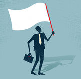 Abstract Businessman waves the white flag of defea Stock Photo