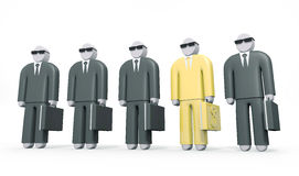 Abstract businessman wearing golden suit stands among others men Stock Photos