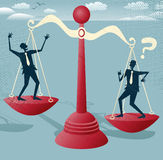 Abstract Businessmen balance on Giant Scales Royalty Free Stock Photo