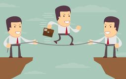 Abstract Businessmen Pulling together on a cliff Stock Photography