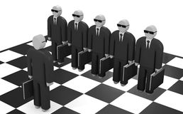 Abstract businessmen stand on a chessboard Royalty Free Stock Image