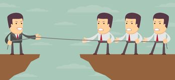 Abstract Businessmen Tug of war on a cliff. Vector Royalty Free Stock Photo