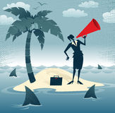 Abstract Businesswoman Calls for Help on an Island. Great illustration of Retro styled Businesswoman desperately trying to make herself heard with her huge Stock Images