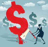 Abstract Businesswoman cuts down the Dollar. Royalty Free Stock Images