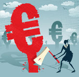 Abstract Businesswoman cuts down the Euro. Royalty Free Stock Photo