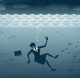 Abstract Businesswoman Drowning. stock illustration