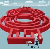 Abstract Businesswoman enters a Dollar Maze. Stock Photos