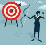 Abstract Businesswoman Hits the Sales Target. Illustration of Retro styled Businesswoman hitting the corporate Sales Charts with a bow and arrow Stock Image