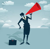 Abstract Businesswoman with Megaphone. Royalty Free Stock Photography