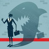Abstract Businesswoman is a Shark in Disguise. Illustration of Retro styled Businesswoman whos shadow reveals her to be somebody quite sinister in the form of a Stock Photos