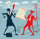 Abstract Businesswoman signs a Deal with the Devil. Stock Image