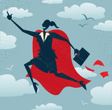Abstract Businesswoman is a Superhero. Royalty Free Stock Photo