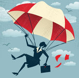 Abstract Businesswoman uses her Parachute. Royalty Free Stock Images