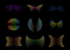 Abstract Butterflies. Nine Vector Illustrations of Abstract Shapes Representing Butterflies Royalty Free Stock Images