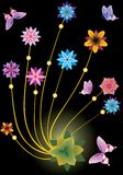 Abstract butterflies and flowers on black Royalty Free Stock Images