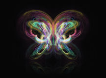 Abstract Butterfly. Fractal rendering of a beautiful abstract butterfly on black Stock Photo
