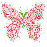 Abstract butterfly. Abstract floral background with butterfly and flowers Royalty Free Stock Image