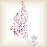 Abstract Butterfly. Illustration of abstract butterfly filled with floral and leaves stock illustration