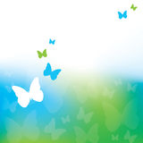 Abstract Butterfly Background. An abstract background with green and blue butterflies Royalty Free Stock Image
