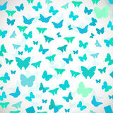 Abstract Butterfly Background. Vector illustration of blue butterflies. Royalty Free Stock Photo