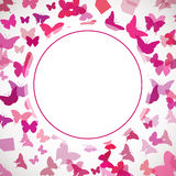 Abstract Butterfly Background. Vector illustration of pink butterflies. Circle place for text on butterflies background Royalty Free Stock Photo