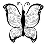 Abstract butterfly black white pattern illustration Royalty Free Stock Image