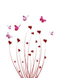 Abstract butterfly bush of hearts Stock Photo