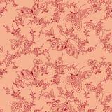 Abstract butterfly decorative seamless batik pattern. Abstract butterfly and flower pattern of indonesian batik Stock Image